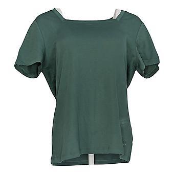 Isaac Mizrahi Live! Women's Top Essentials Square Neck Tee Green A387112