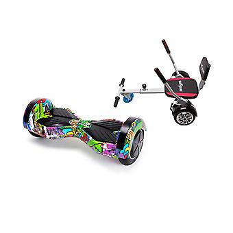 Pakket Smart Balance™ Hoverboard 8 inch, Transformers Multicolor + Hoverseat met Sponge, Motor 700 Wat, Bluetooth, Led