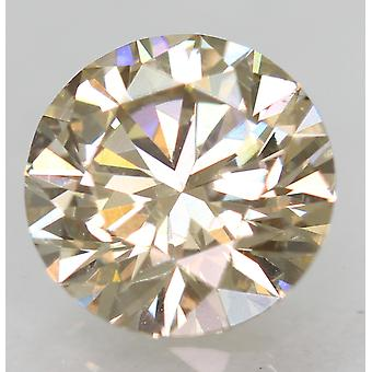 Cert 0.80 Karat TL Yel Ruskea VVS1 Pyöreä Brilliant Natural Diamond 6.04mm 3EX