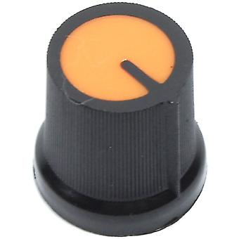 Narancssárga fekete vezérlőgomb - 6 mm-es tengely