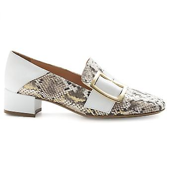 Casanova Décolletè In White Leather and Python Print