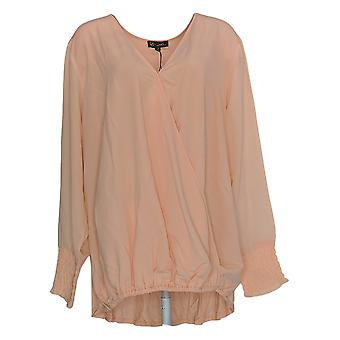 DG2 by Diane Gilman Women's Plus Top 3X V-Neck W/ Sheer Sleeves Pink 648-383