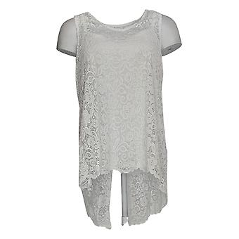 Women with Control Women's Top Sleeveless Lace W/Hi-Low Hem White A305377