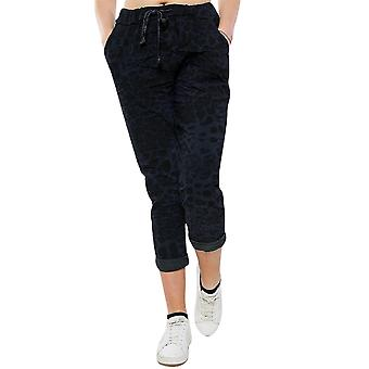 Leopard Magic Pants Stretchy Trousers | Navy | Regular