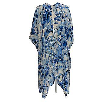 G.I.L.I. fik det elsker det Women's Sweater Trykt Duster Kimono Blue A390708