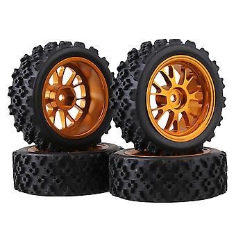 4x Cross Pattern Rubber Tyre+Gold Y Shape Alloy Wheel Rim for RC1:10 On Road Car