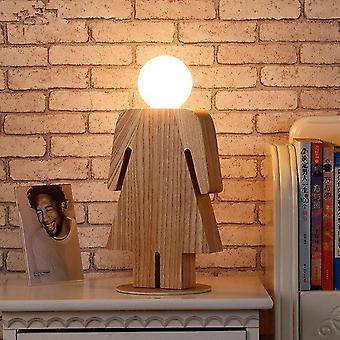 Pojke & skrivbord ljus trä skrivbordslampa