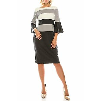 Gestreifte Colorblock Mantel Kleid