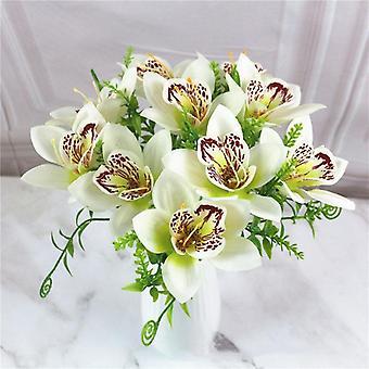 Bouquet Artificial Orchid Flower, Silk Fake Diy Wedding Desk Vase Accessories,