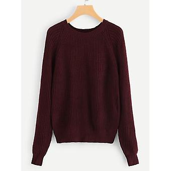 Kontrast Raglan Rękaw Solidny sweter
