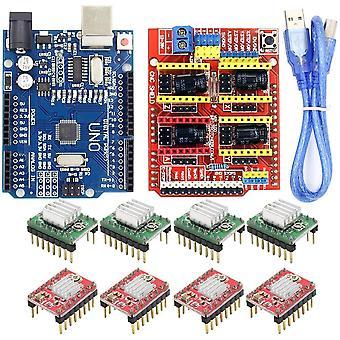 Cnc Shield Expansion Board -v3.0+uno R3 met Usb Voor Arduino