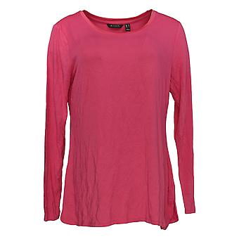 H By Halston Women's Top Essentials Scoop Neck Long Sleeve Pink A311541