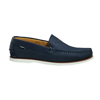 Hackett London Navy Leather Jersey Moccasin Deck Slip On Mens Shoes HMS20791 595