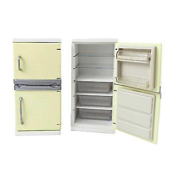 Muñecas Casa Crema Nevera Congelador Muebles de Cocina Moderna 1:12 Escala