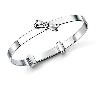 D for Diamond Children's Engravable 925 Sterling Silver, Rhodium Plated, Diamond Bow Christening Bangle, Naming Engraved for Baby Boy, Girl, Kids and Child Jewellery