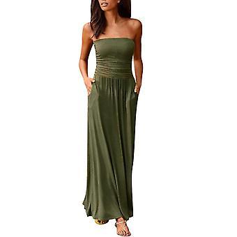 Womens Dresses Elegant Off Shoulder Long Dress, Ladies Summer Beach Solid Maxi,