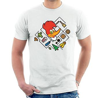 Woody Woodpecker Character Head With Icons Men's T-Shirt