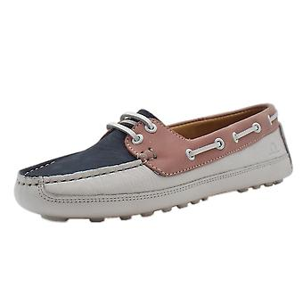 Chatham Echo Women's Driving Lace-up Loafers In Navy & White