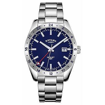 | Rotary Mens | Henley | GMT | de discagem azul Pulseira de aço inoxidável GB05176/05 Relógio