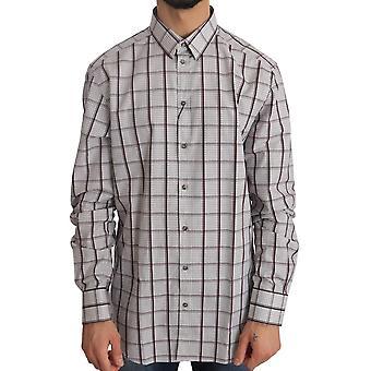 Dolce & Gabbana White Cotton Gold Bordeaux Checkered Shirt