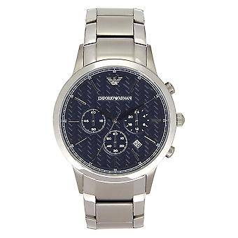 Armani Ar2486 Men's Stalen Armband en Blue Dial Chronograph Horloge