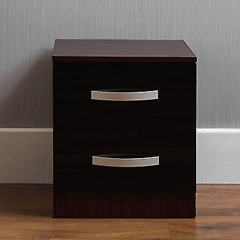 Hulio 2 Drawer Bedside Chest Cabinet High Gloss, Walnut & Black