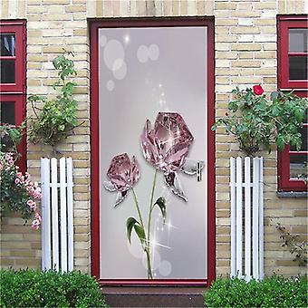 Diamond Rose Door Mural Self-adhesive Waterproof Vinyl Wall Sticker