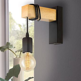 Eglo Townshend Single Wall Light In Black And Natural Oak