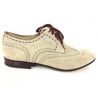 Men's Shoes Santoni Derby Perforated Rondine Tail Cream /Moro Handmade 44
