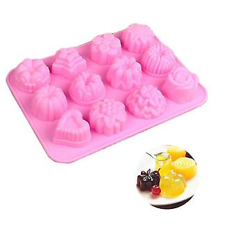 12 With Flower Silicone Mold Ice Cream Jelly Pudding Baking Ovens Cake Baking Mold