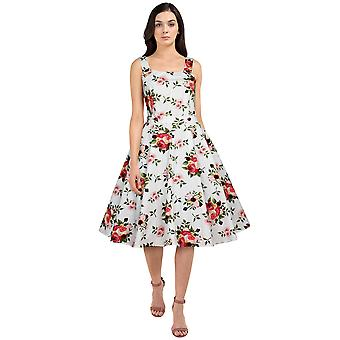שיק כוכב כפתורים Rockabilly שמלה לבן / פרחוני