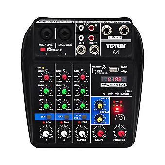 Phantom Power Delay Repaeat Effect 4 Channels Usb Audio Mixer