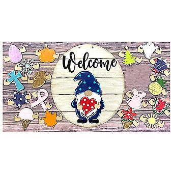 Gnome Door Hanger Seasonal Welcome Sign With Interchangeable Holiday Pieces For Front Door Porch