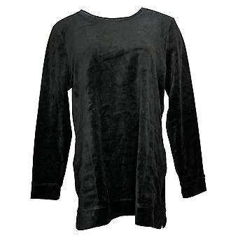 Denim & Co. Women's Top Velour Long Sleeve Tunic W/ Pockets Black A390299