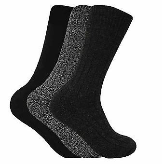 3 Pairs Mens Wool Blend Hiking Socks