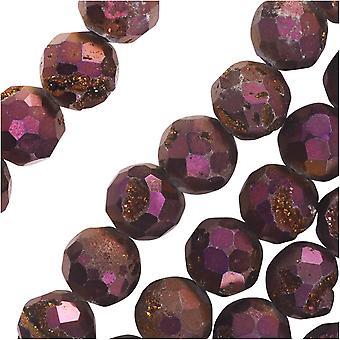 Dakota Stones Gemstone Beads, Agate Geode Druzy, Faceted Round 8mm, 8 Inch Strand, Iridescent Purple