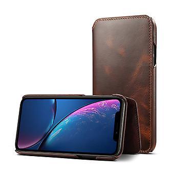 Ranura para tarjeta de la cartera de cuero genuino para iphone 12 / iphone 12pro6.1 marrón on1449