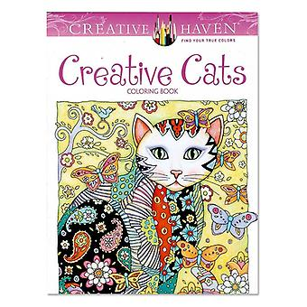 Creative Cats Coloring Book For, Adult, Relieve Stress, Kill Time, Painting