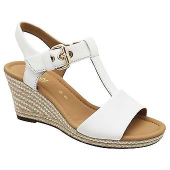 Gabor White Karen Leather T-bar Wedge Sandal