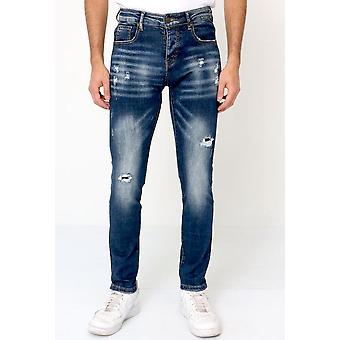 Ripped Jeans Stretch Slim Fit - Blue