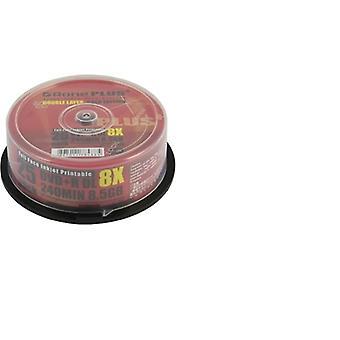 Aone DVD+R 8x 8,5GB kétrétegű 25PK Teljes arc nyomtatható