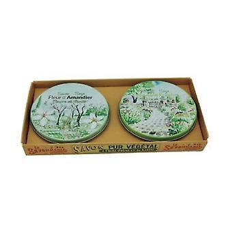 Lot 2 round Almond / Verbena metal box 2 units