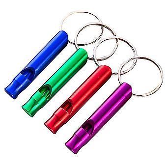 4 pezzi fischi di emergenza fischi di sopravvivenza in alluminio con catena porta chiave per l'arbitro sportivo escursionismo arrampicata in campeggio