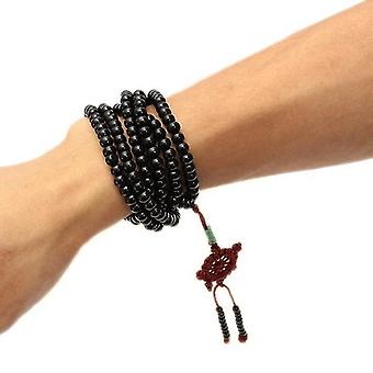 Trendy Black Sandalwood Buddhist Buddha Multilayer Beads Weaving Bracelet