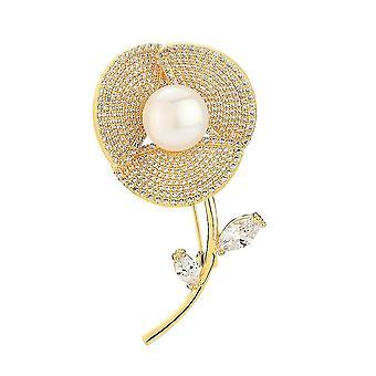 Schöne Frauen Brosche Blume Corsage Zirkon Mikro-eingelegte Bronze Brosche Pin
