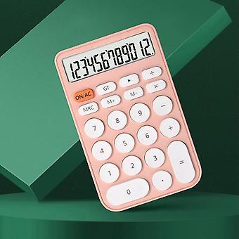 Mini Fonction Calculatrice de bureau 12 chiffres Calculatrice de taille de téléphone portable pour le bureau d'apprentissage (rose)