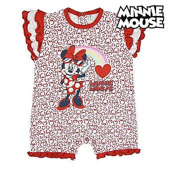 Dětský romper oblek s krátkým rukávem Minnie Mouse Red White