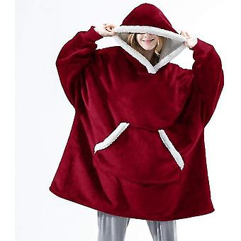 Women's Thick Pajamas Wearable Lamb Velvet Lazy Blanket Home Casual Plush Sweater With Hood(Red)