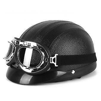 קסדת הארלי פו עם משקפי מגן ו Sunshade עבור רכיבה יוניסקס (שחור)