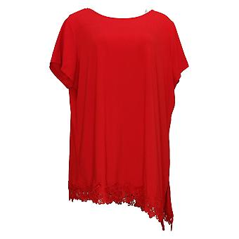 Dennis Basso Women's Plus Top Essentials Crew Neck 3/4-Sleeve Red A376928